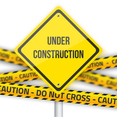 Under Construction Vector Road Sign Background with Yellow Polic