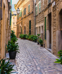 Wall Mural - Idyllic view of a old mediterranean alleyway