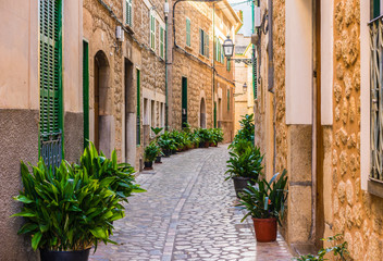 Wall Mural - Beautiful view of an mediterranean old alleyway
