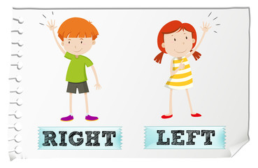 Opposite adjectives with left and right