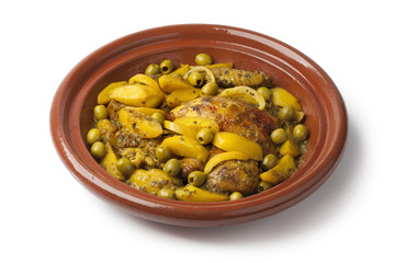 Moroccan tajine with chicken,pototoes and olives