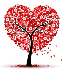 Valentines day background with red heart leaves