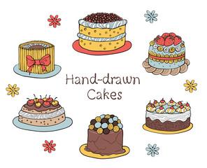Set of Hand-drawn Cakes
