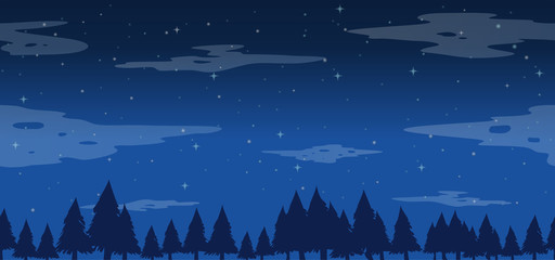 Seamless pine trees at night