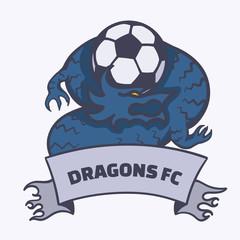 Dragon football soccer emblem. EPS10 vector illustration