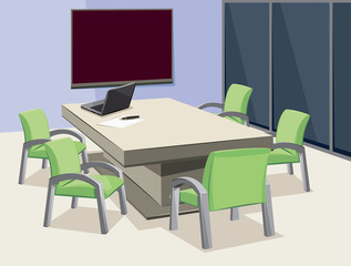 Interior of conference room. Company staff training. Empty office with laptop and blackboard. Vector cartoon simple illustration.