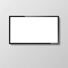 LCD or LED tv screen hanging on the wall.
