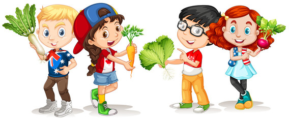 Children holding fresh vegetables
