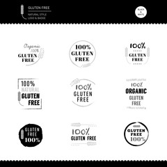 Collection of Gluten Free Icon vector design Black and white Nat