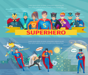 Superhero Team Banners Set
