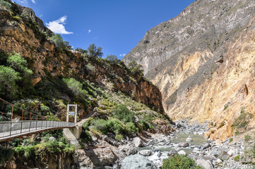 Bridge at the bottom of Colca Canyon in Peru