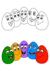 Smiling Colorful Easter eggs as coloring books for little kids - vector svg
