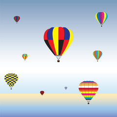 Hot Air Balloons in air. Festival, holiday of Hot Air Balloons.