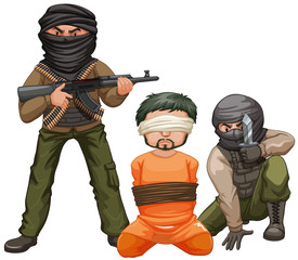 Two terrorists with guns and a victim