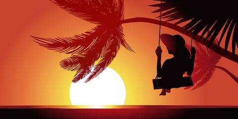Vacances Plage balançoire-coucher de soleil