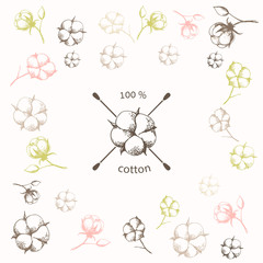 Cotton flower with crossed cotton swabs