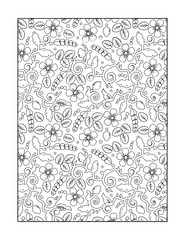 Coloring page for adults (children ok, too) with whimsical floral pattern, or monochrome decorative background.