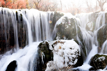 Frozen water fall in Jiuzhaigou, China
