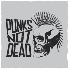 Punks not dead label design for t-shirts, posters, logos, greeting cards etc.