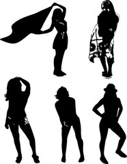 Vector set of black silhouettes of girls in various poses, standing at full height on a white background in vector format.
