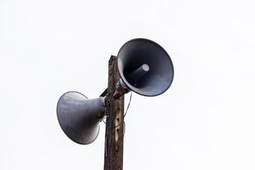 Vintage loudspeaker isolated on white.