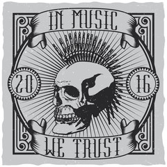 In Music We Trust label design for t-shirts, posters, logos, greeting cards etc.