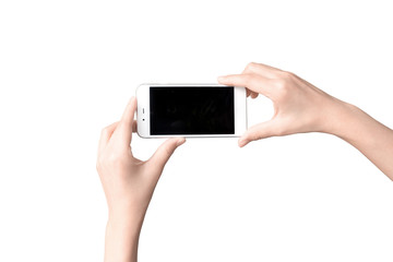 Hand with mobile smart phone Isolated on white background