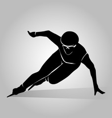 Vector silhouette speed skaters
