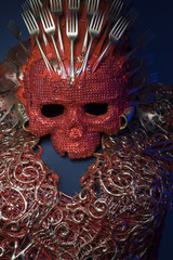 fashion bright red skull handmade fantasy warrior costume with g