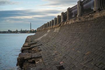 Old ruined embankment in St. Petersburg, Russia