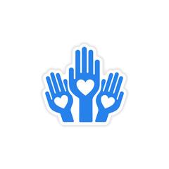 icon sticker realistic design on paper hands heart