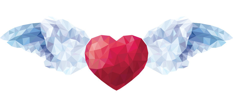 Vector of Heart with angel wings in the style of a triangular low poly/Vector Valentine heart with angel wings in the style of a triangular low poly isolated on a white background