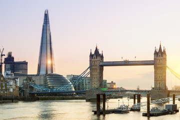 London, the Shard and Tower bridge at sunset