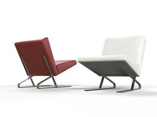 Modern red and white leather armchairs - side view
