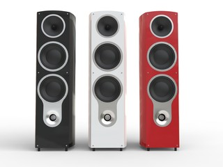 Modern black, white and red loudspeakers