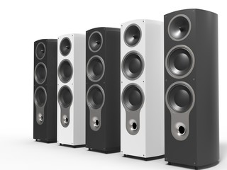 Modern black and white speakers - side view