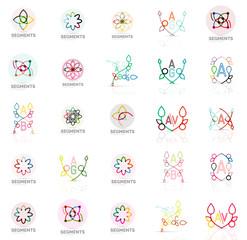 Set of vector linear logotypes, geometric abstract symbols, elegant icons