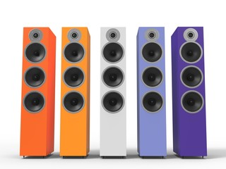 Warm colored speakers - front view