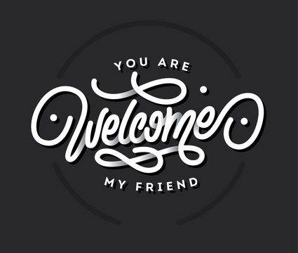 Welcome lettering vector title