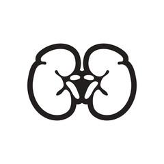 stylish black and white icon human kidney