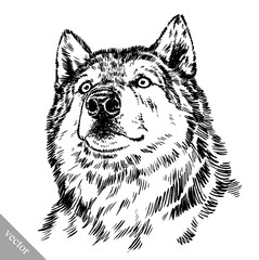 Door stickers Hand drawn Sketch of animals black and white engrave isolated wolf