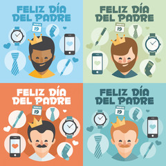 Set of 4 Happy Fathers day card. Vector Element Set. Written in Spanish