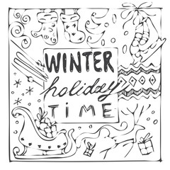 winter holiday time handdrawn black and white card