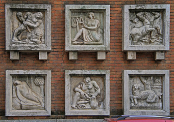 six relief picture on the wall in Milan