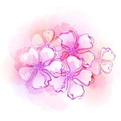 Watercolor spring flower background. Vector illustration