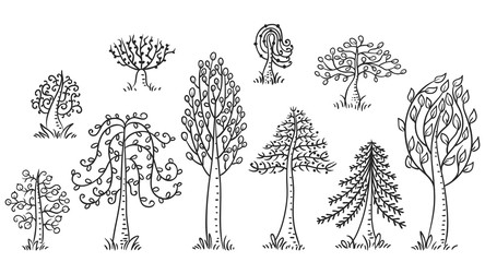 Hand drawn trees set, black and white outline