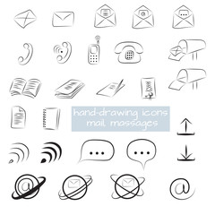hand-drawn icons mail, letters, messages, communication