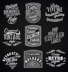 Vintage retro labels black bacground