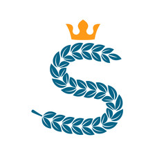 S letter logo formed by laurel wreath with crown