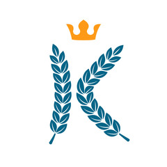 K letter logo formed by laurel wreath with crown